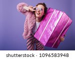 blissful european woman in pink ... | Shutterstock . vector #1096583948