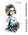 hand drawn beautiful young...   Shutterstock .eps vector #1096584404