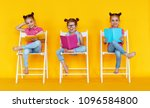 funny children girls read books ... | Shutterstock . vector #1096584800