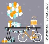 birthday cake with bengal...   Shutterstock .eps vector #1096586570