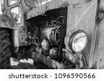 retro tractor closeup  front... | Shutterstock . vector #1096590566