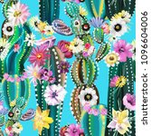 hand painted blooming cactus ... | Shutterstock . vector #1096604006