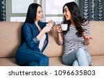 two smiling and beautiful girl... | Shutterstock . vector #1096635803