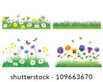 grass and flower set.  isolated ... | Shutterstock .eps vector #109663670