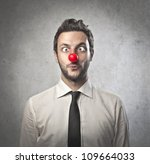 Funny Businessman With Red...
