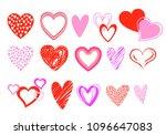 set of heart vectors in reds... | Shutterstock .eps vector #1096647083