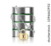 hard drive locked by a chain...   Shutterstock .eps vector #1096662953