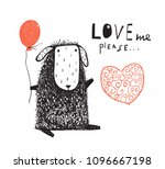 cute little sheep sitting with... | Shutterstock .eps vector #1096667198