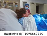 young woman give childbirth in... | Shutterstock . vector #1096667360