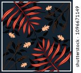 floral silk scarf with leaves... | Shutterstock .eps vector #1096671149