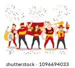 cheerful spain football... | Shutterstock .eps vector #1096694033
