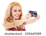 Happy Young Woman Photographer...