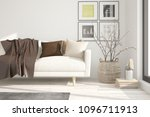 white modern room with sofa.... | Shutterstock . vector #1096711913