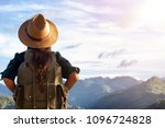 a woman with a backpack and a... | Shutterstock . vector #1096724828