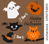 Stock photo cute halloween card with spiders ghost owl and jack o lantern 1096753853
