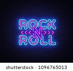 rock and roll logo in neon... | Shutterstock .eps vector #1096765013
