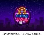 horse betting logo in neon... | Shutterstock .eps vector #1096765016