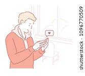 a man is sending a text message ... | Shutterstock .eps vector #1096770509