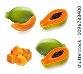 papaya set  pawpaw  paw paw ... | Shutterstock .eps vector #1096783400