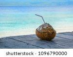 drinking coconut at summer day... | Shutterstock . vector #1096790000