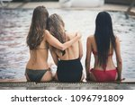 back view happy group of woman... | Shutterstock . vector #1096791809