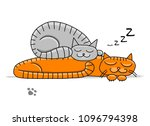 sleeping cats  sketch for your... | Shutterstock .eps vector #1096794398