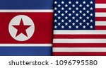 flag of north korea and usa | Shutterstock . vector #1096795580