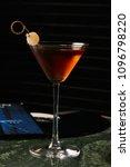 vinyl manhattan cocktail on bar ... | Shutterstock . vector #1096798220