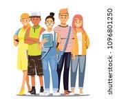 happy group of teen university... | Shutterstock .eps vector #1096801250