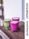 three colorful beetroot  matcha ... | Shutterstock . vector #1096803104