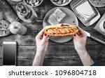 black and white.noir. hot dog... | Shutterstock . vector #1096804718