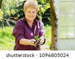 portrait of happy senior blond... | Shutterstock . vector #1096805024