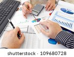 analyzing data  hands with...   Shutterstock . vector #109680728