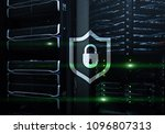 cyber protection shield icon on ... | Shutterstock . vector #1096807313