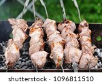 barbecue grill meat  close up ... | Shutterstock . vector #1096811510