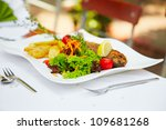 closeup of a fish meal at the restaurant - stock photo