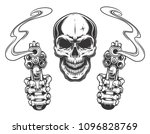 skull aiming with two revolvers.... | Shutterstock .eps vector #1096828769