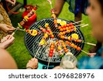 barbecue dinner at a summer... | Shutterstock . vector #1096828976