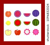 vector set of fruit including... | Shutterstock .eps vector #1096832024