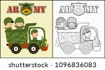 army truck with happy troops ...   Shutterstock .eps vector #1096836083