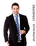 Happy business man in a suit - isolated over a white background - stock photo