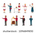 Stock vector flat vector set of hotel staff maid with clean towels manager bellboy with luggage trolley 1096849850