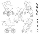 sketch of a baby stroller and... | Shutterstock .eps vector #1096854260