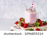 strawberry milkshake or... | Shutterstock . vector #1096855214
