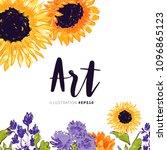 sunflower and abstract garden... | Shutterstock .eps vector #1096865123