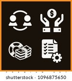 set of 4 business filled icons...