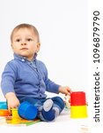 little baby boy playing and... | Shutterstock . vector #1096879790