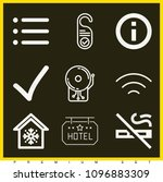 set of 9 signs outline icons...   Shutterstock .eps vector #1096883309