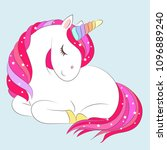 white girl unicorn with pink... | Shutterstock .eps vector #1096889240