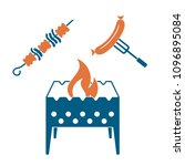 brazier  kebab and sausage icon.... | Shutterstock .eps vector #1096895084